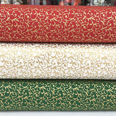 Metallic Scroll (Gold metallic Scroll Christmas FQ bundle & fabrics per 1/2 Metre 100% cotton )