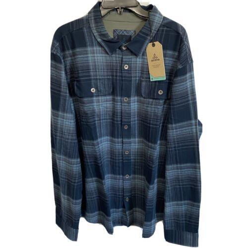 Prana Lybek Flannel L/S Metal Button Down Mens Organic Shirt Small Blue Casual Button-Down Shirts