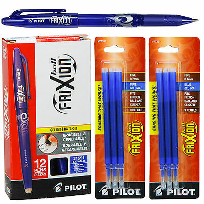 Box Of 12 Pilot 31551 Frixion Erasable Blue Gel Ink Pens With 2 Pk Of Refills