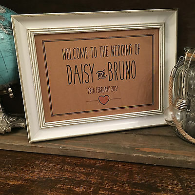 Vintage Rustic Personalised Wedding Welcome Sign, Choice of colour and - Rustic Wedding Colors