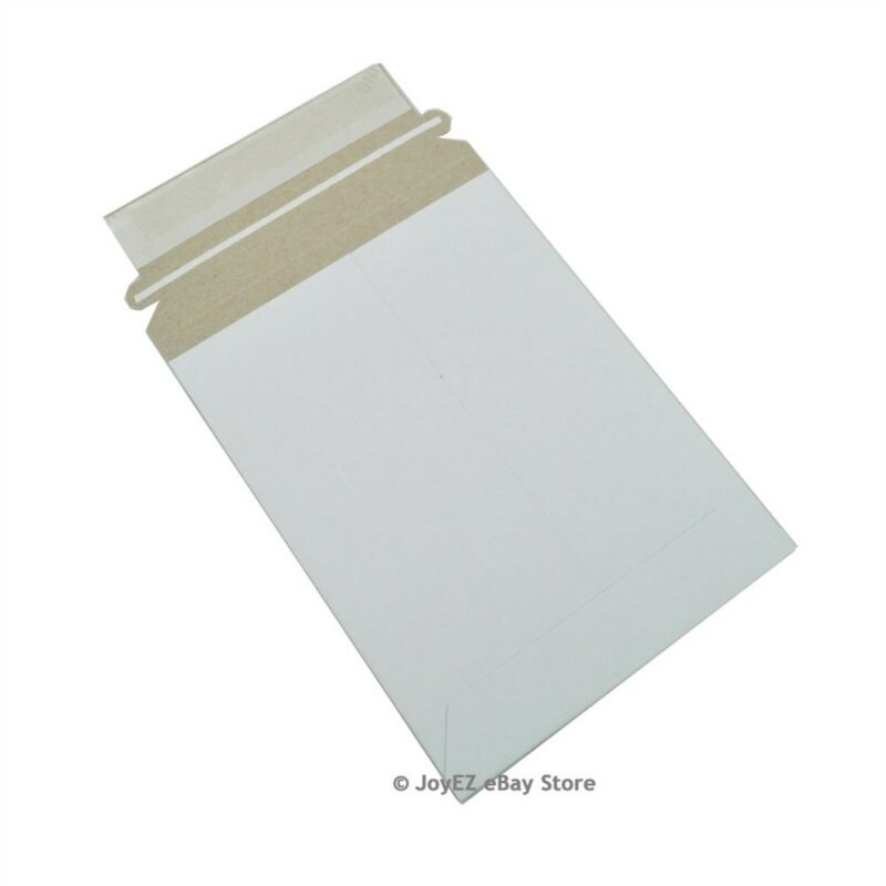 "100 - 6 x 8 Stay Flat Rigid Mailer Cardboard White Envelope 6""x8"" Self Seal Flap"