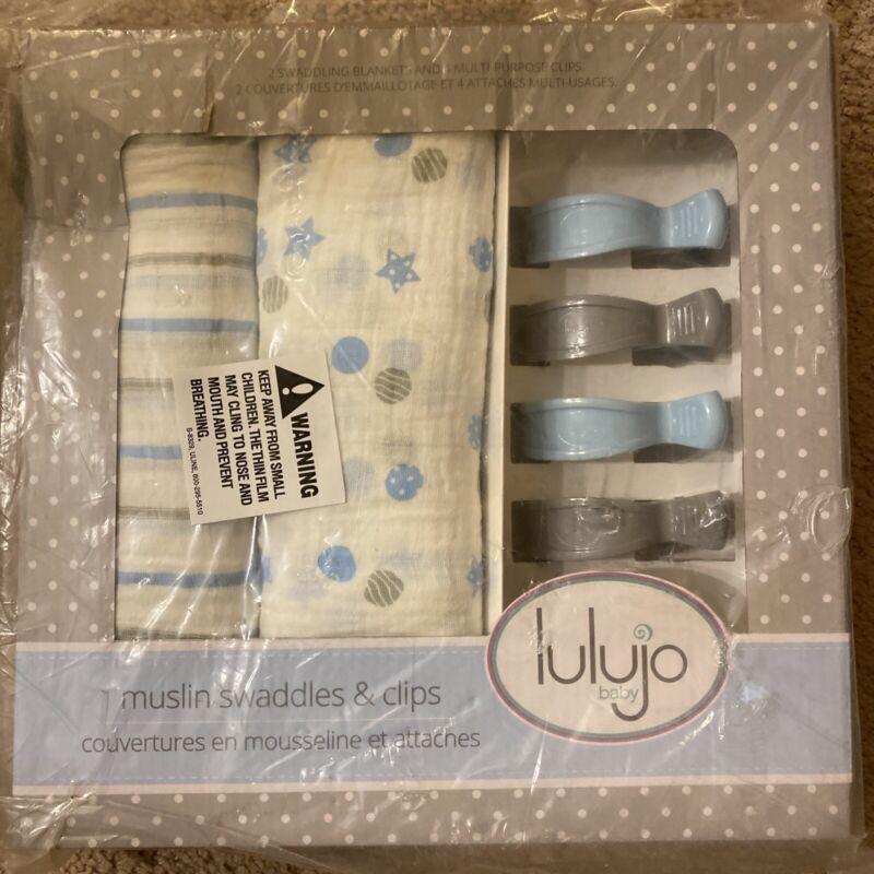 """Lulujo 2 cotton muslin swaddles 47""""x47"""" & Clips, Blue"""