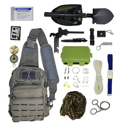Sling Bag Bug Out Kit - Survival Pack Filled with Emergency Gear & Tools ()