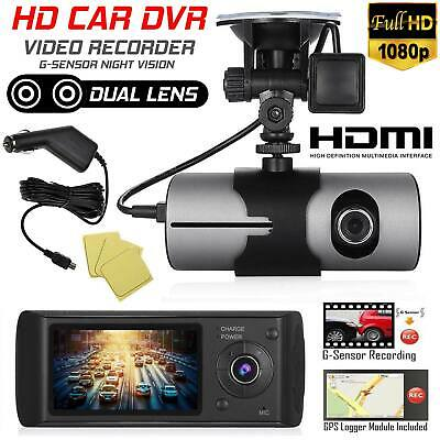 GPS Dual Lens Camera HD Car DVR Dash Cam Video Recorder G-Sensor w/ Night Vision