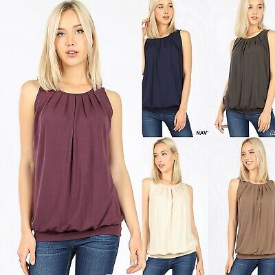 Zenana Pleated Top Round Neck Sleeveless Soft Knit Office Work Shirt Blouse Pleated Knit Top
