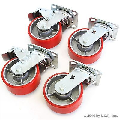 4 Red Wheel Casters Set 5 Wheels All Swivel Heavy Duty Iron Hub No Mark 2 Brake