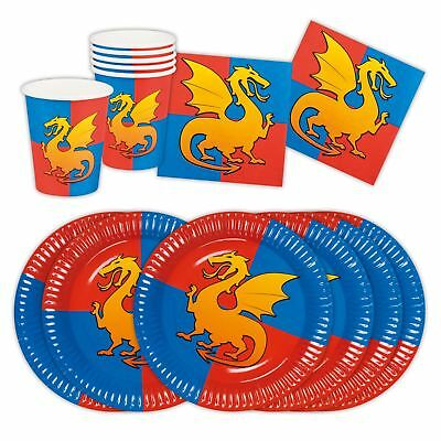 Medieval Knights and Dragons Picnic Table Set Partyware Cups Plates Napkins Boys](Medieval Table Setting)