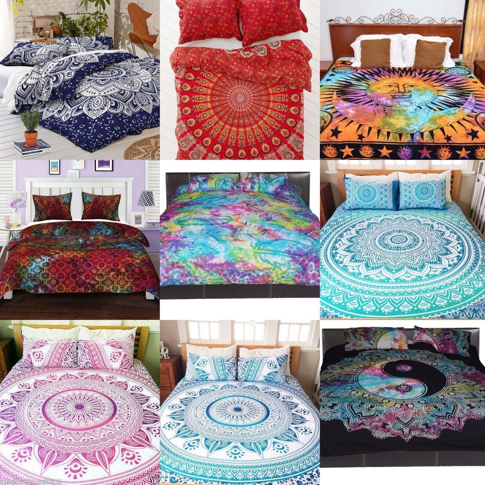 Indian Mandala Duvet Cover Set Double Queen Size Bedding Bed