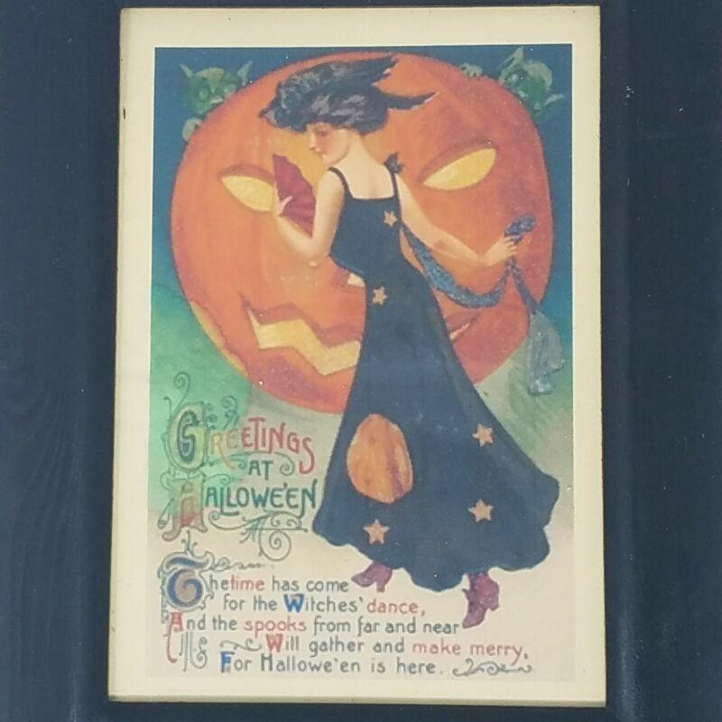 Vintage Autumn Decor Halloween Print Poem Greeting Card Victorian Lady Framed