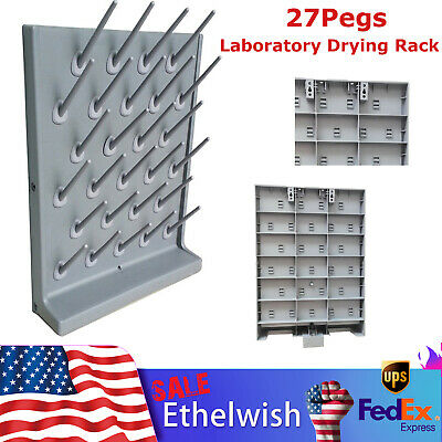 27pegs Laboratory Drying Rack Wall Mounted Cleaning Equipment Polypropylene New