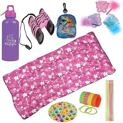 American Trail Girls Butterfly & Flowers Sleeping Bag 68 Piece Camping Kids Pink
