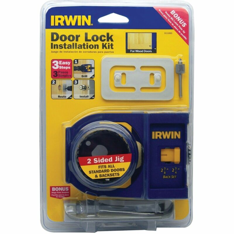 IRWIN DOOR LOCK INSTALLATION KIT FOR STEEL DOORS NEW