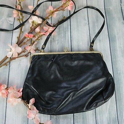 1950s Handbags, Purses, and Evening Bag Styles Vintage Black 1950's - 1960s Crossbody Purse Handbag Leatherette Shoulder $22.49 AT vintagedancer.com