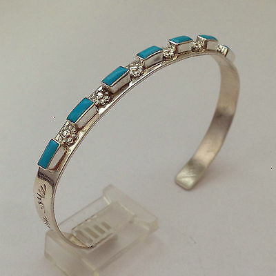 Sterling Silver Navajo Handmade 7 Rectangle Turquoise Coral Opal Cuff Bracelet - Opal Turquoise Bracelet