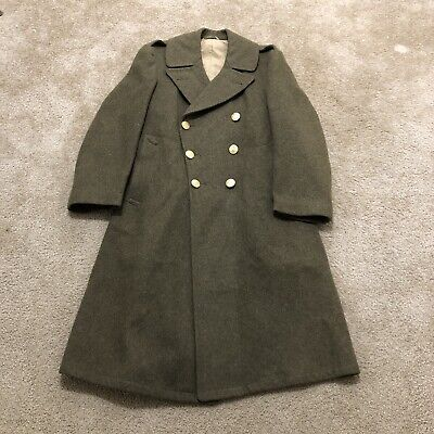 WW2 US Army Trench Coat OD Green Wool Great Coat WWII Original Size 40S