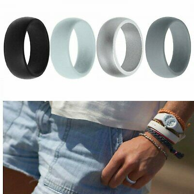 4-Pack Silicone Wedding Ring Men / Women  Rubber Band Flexible Lifestyle Bands without Stones