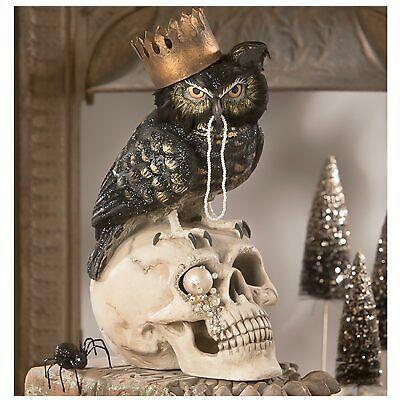 "14"" Bethany Lowe Sir Wingston Black Owl Skull Retro Vtg Halloween Figurine Decor"