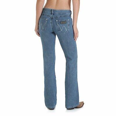 NEW! Ladies WRANGLER MAE Stretch Premium Patch boot cut 09MWZSN stonewashed jean