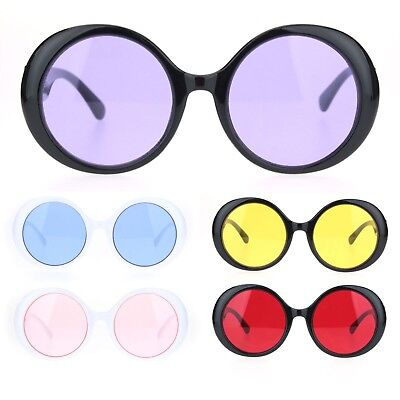 Womens Round Circle Mod Hippie Color Lens Plastic Wizard (Color Circle Lenses)