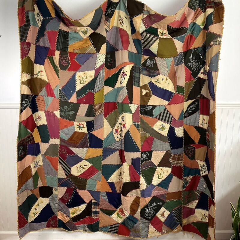 """Crazy quilt with embroideries - 78"""" x 79"""" vintage needlework"""