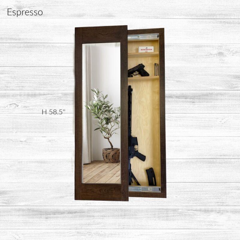Hidden storage mirror,  In-wall gun safe concealment cabinet - Espresso