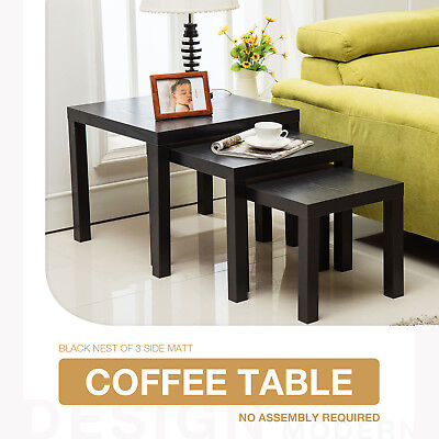 Black Square Coffee Table Top Nest of 3 Units Side End Living Room Furniture
