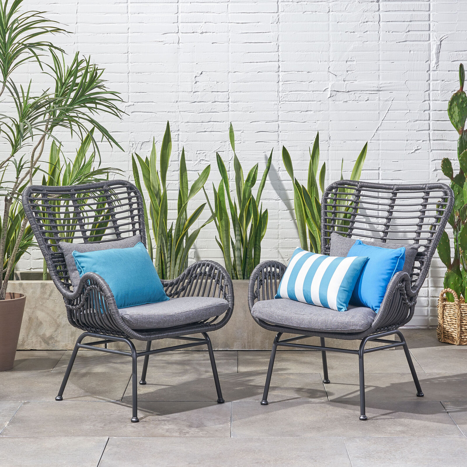 Crystal Outdoor Wicker Club Chairs with Cushions (Set of 2) Home & Garden