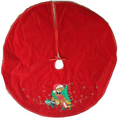 "42"" Inch Christmas Tree Skirt Medium Lined Crush Velvet Red Teddy Bear w/Tree"