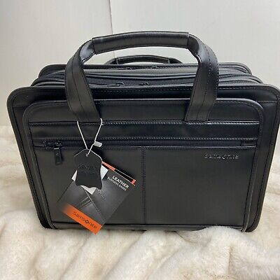 Samsonite Leather Expandable Briefcase With Shoulder Strap, Black