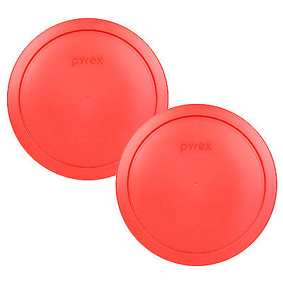Pyrex 2 Pack Red Plastic Round 6/7 Cup Storage Lid Cover 7402-PC for Glass Bowl Lid Plastic Lids