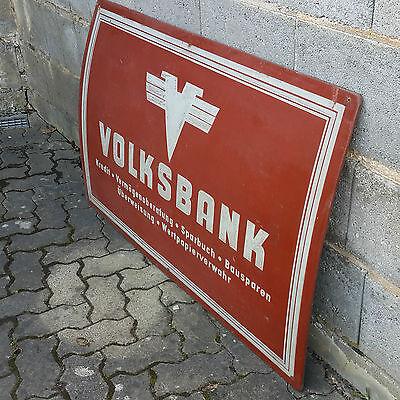Altes Volksbank Schild Werbe Außenschild original 50er Jahre Pappe 118x80