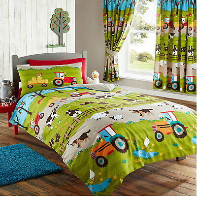 Farm Tractor Animals Cow Sheep Pig Boys Kids Green Duvet Cover Quilt Bedding Set
