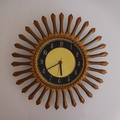 Clock Sun Junghans Electric Bronze Copper Made IN Germany Art Deco 20th