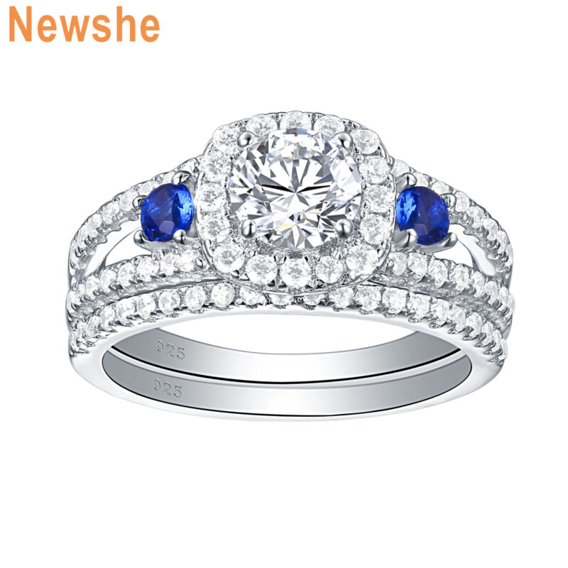 Newshe Wedding Engagement Ring Set 1.5ct Blue 925 Sterling Silver Round Cz 5-12