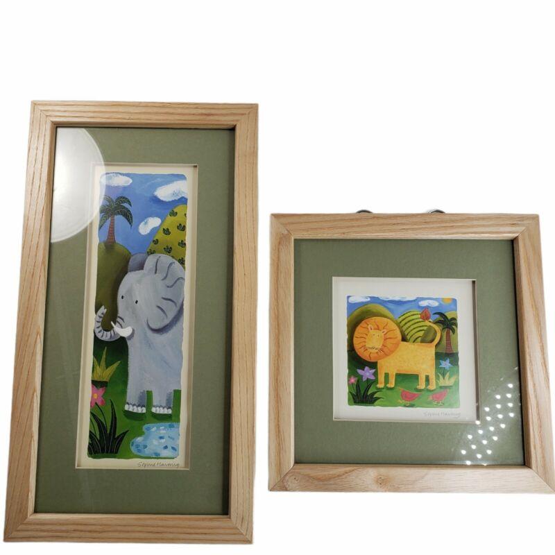 Sophie Harding Framed Art Prints Wild Safari Lion & Animal Panel Elephant Signed