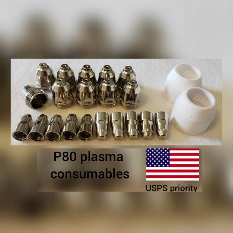 P80 Plasma Torch Consumables 22 Pc Set - 1.5mm Nozzles, -USPS priority SHIP-