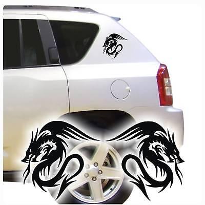 Drache Autoaufkleber Tribal Dragon 2er Set Sticker Tattoo Auto clickstick A078  ()