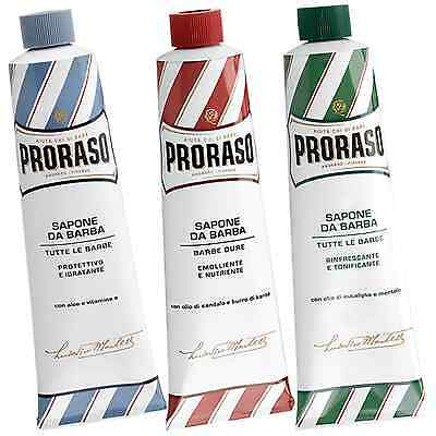 Triple Selection Pack - Proraso shaving cream green/blue/red 150ml tube