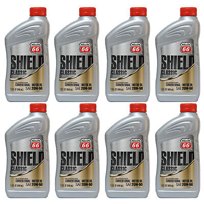 Conventional Oil 20W50 Motor Oil 8 Quarts In Case PHILLIPS 66 Shield Classic