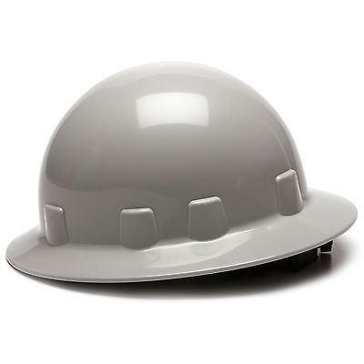 Pyramex Sleek Full Brim Hard Hat With 4 Point Ratchet Suspension Gray