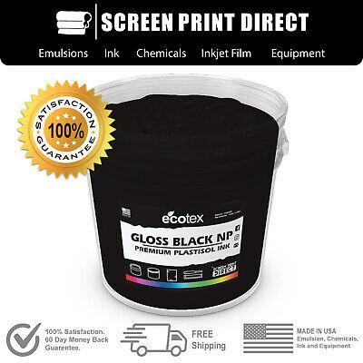 Ecotex Gloss Black - Premium Plastisol Ink For Screen Printing - 8oz