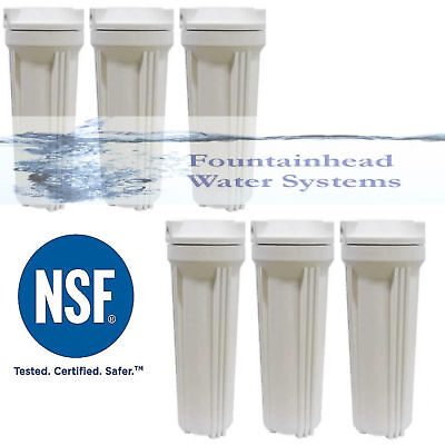 """6 Exchange Osmosis RO/DI Standard White Housings fits 2.5X10"""" Filters 1/4' Seaport."""