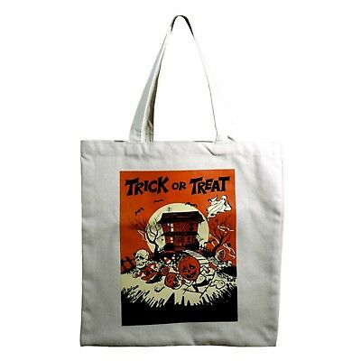 Trick Or Treat Bag Candy Halloween Retro Vintage Style Canvas Tote Bag Pumpkins (Retro Halloween Candy)
