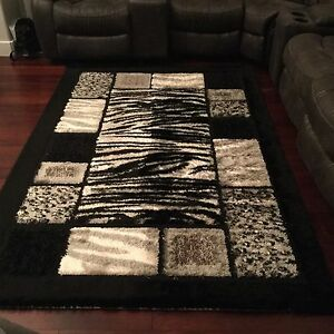 Black and grey area rug