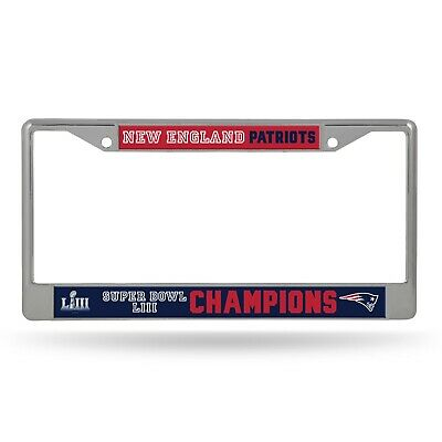 New England Patriots Super Bowl LIII Champions Metal Chrome License Plate Frame  - New England Patriots Plates