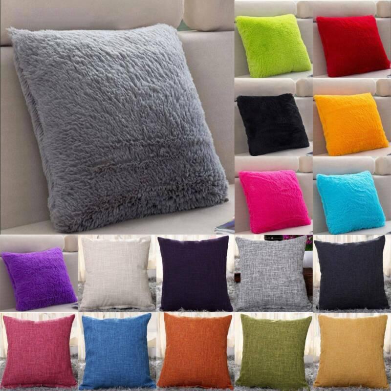 Cotton Linen / Plush Pillow Case Cushion Cover Square Home D