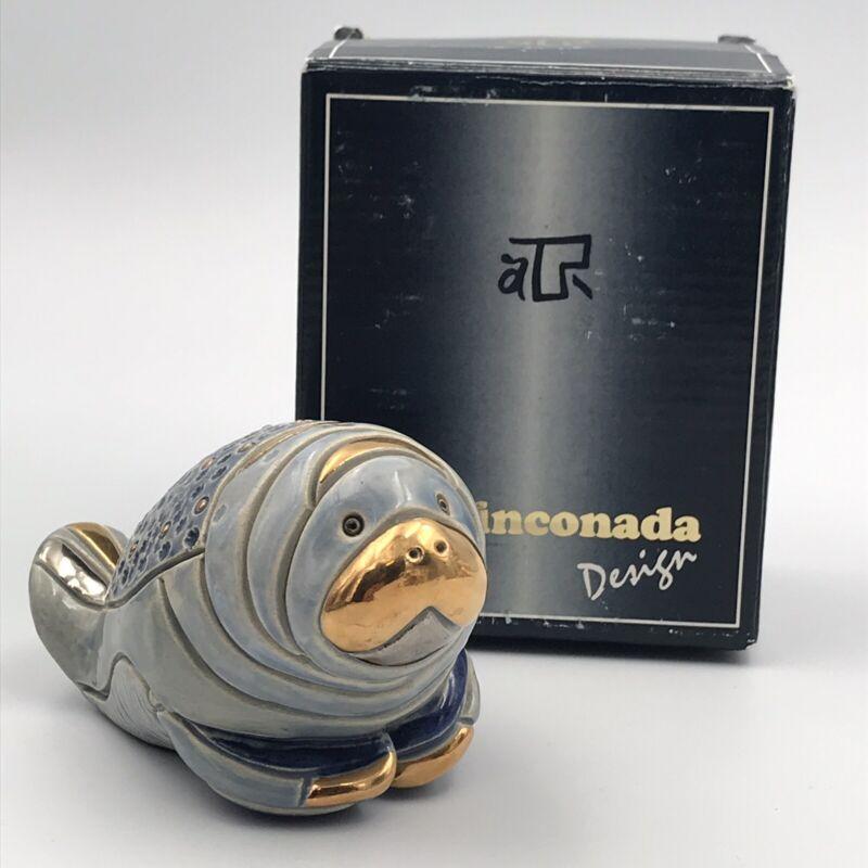 Vintage DeRosa Rinconada Manatee Figurine Uruguay Gold Platinum #751
