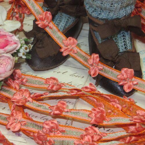 1y VTG FRENCH ROCOCO TRIM DARK PEACH BOW ROSETTE DOLL DRESS FLOWER RIBBON ANTQ
