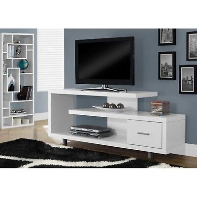 60  Tv Stand Console Shelves Drawer Table Entertainment Wood Modern Gloss White