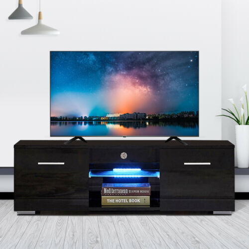 Modern Black TV Stand Unit Cabinet w/ LED Shelves 2 Drawers